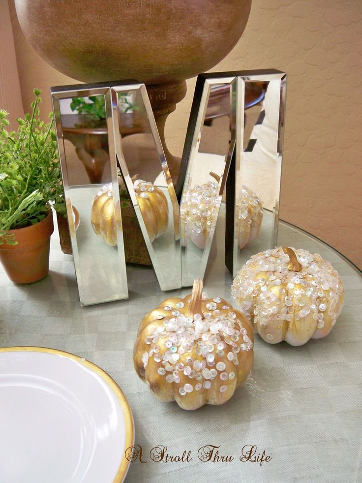 A Stroll Thru Life: DIY Rhinestone, Sequin & Pearl Pumpkins