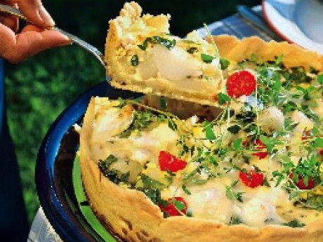 Solrosquiche med potatis och getost