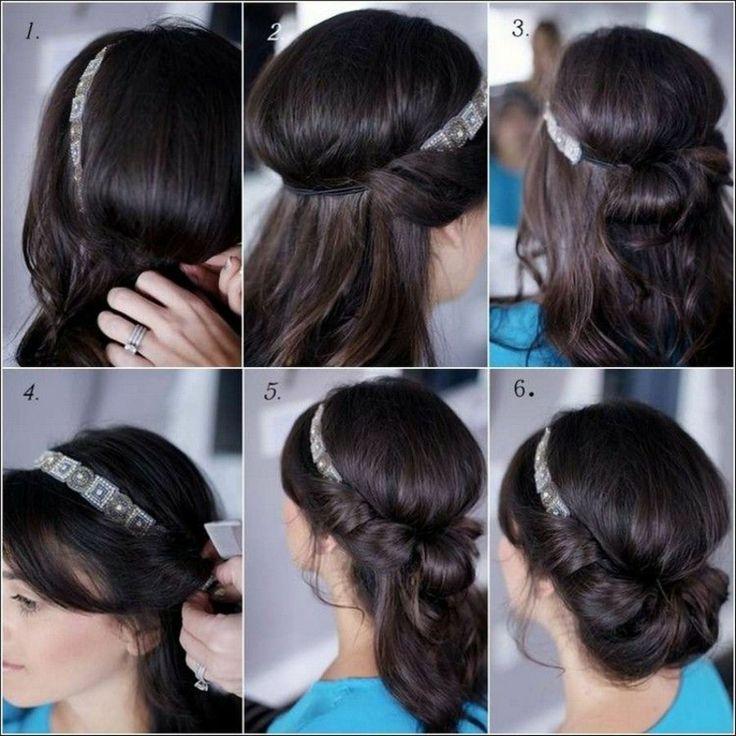 Hochsteckfrisur mit Haarband selber machen Anleitung in Bildern