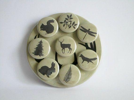Woodland Magnets - Rustic Refrigerator Magnets - Fridge Magnet Set - Nature Lover Refrigerator Magnet Set - Rustic Home Decor - Cabin Decor