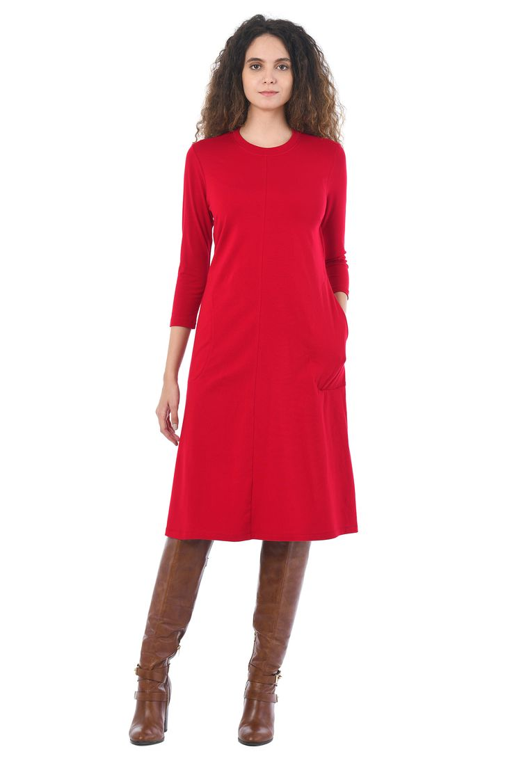 eShakti Cotton Jersey Knit Shift Dress $60 with wide V neck, extra long sleeves