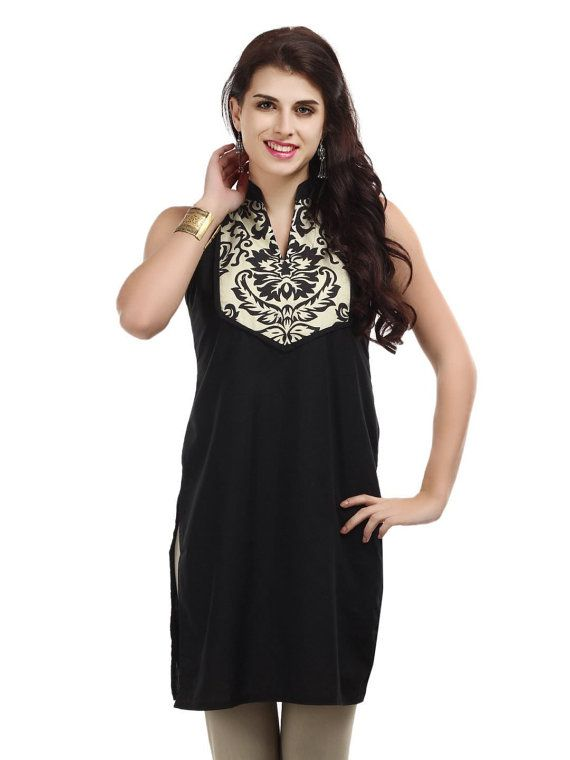 Women Black Printed Yoke Kurta by ShopOfIndia on Etsy, $54.99