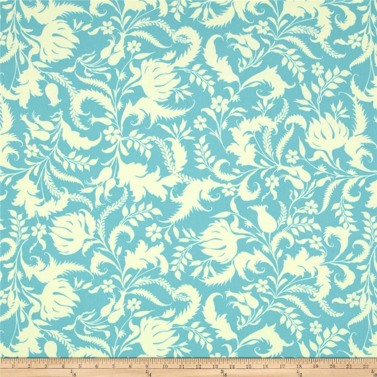Amy Butler Lark Home Decor Sateen Ivy Bloom Lake from @fabricdotcom  Screen printed on cotton sateen; this medium weight fabric is very versatile. This fabric is perfect for window treatments (draperies, valances, curtains, and swags), bed skirts, duvet covers, pillow shams, accent pillows, tote bags, aprons, slipcovers and upholstery. Colors include ivory and turquoise.