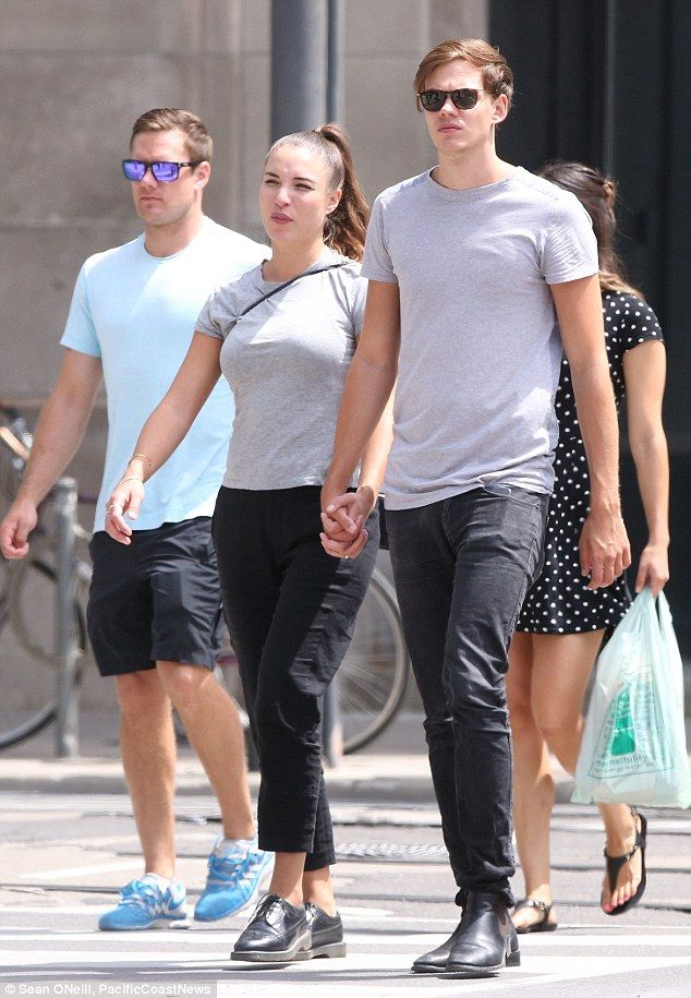 Taking a break: Bill Skarsgard went for a stroll with his girlfriend in Toronto on Sunday ...