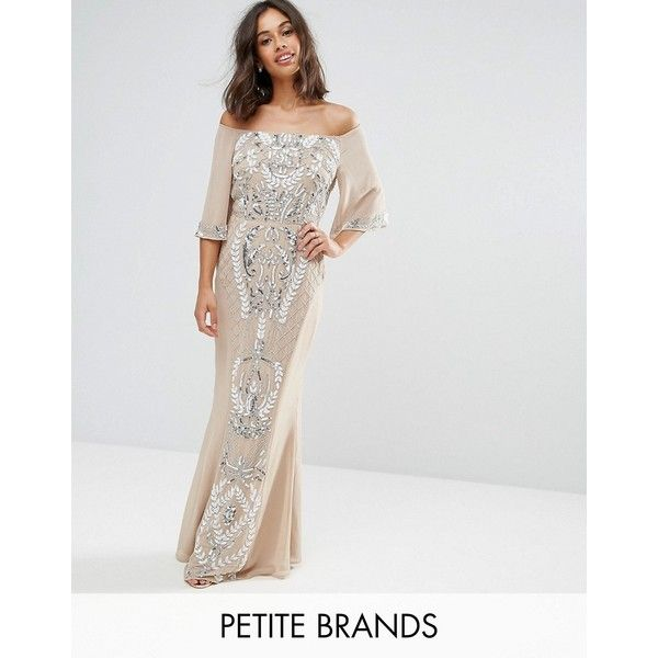 Maya Petite Allover Embellished Bandeau Maxi Dress With Baloon Sleeves (£150) via Polyvore featuring dresses, pink, off the shoulder dress, off shoulder maxi dress, pink maxi dress, petite prom dresses and petite dresses