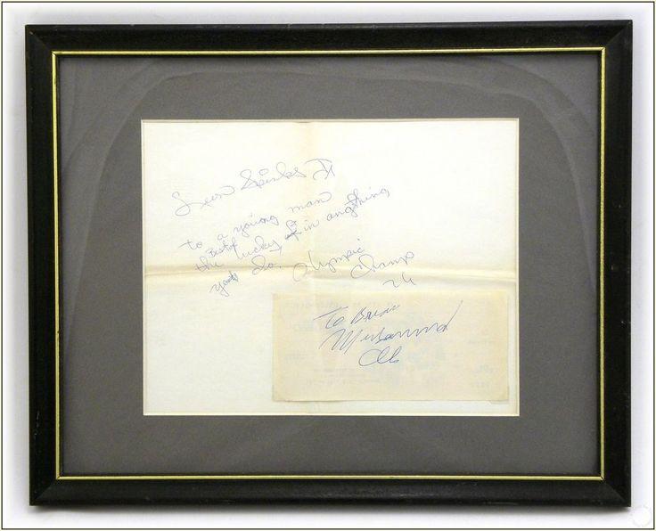 1970's Vintage Muhammad Ali & Leon Spinks Framed Autograph Boxer Signature Set