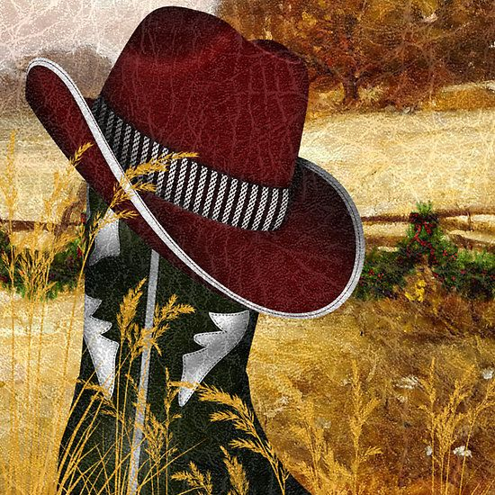 Cowboy Christmas - Cowboy Christmas - This is a digital composition created using over ten elements. Features a green cowboy boot with a red cowboy hat sitting in a country field, with the ranch landscape in the background. A holiday garland has been placed on the wooden horse fencing and a leather-like texture applied to give a western feel to the overall imagery. Original art by Doreen Erhardt©2013 and the St.George Salon of Art,LLC.