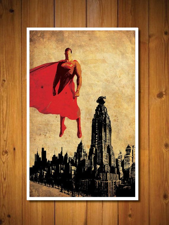 Justice League Superman by posterexplosion on Etsy, $18.00...Maybe for Angel? GOT IT: ORDERED 10/10/13