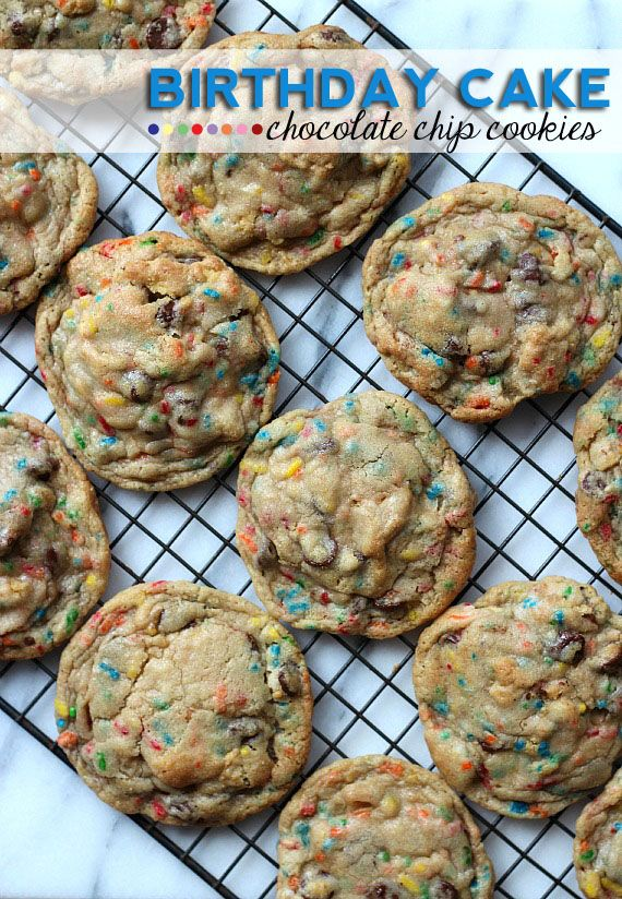 Birthday Cake Chocolate Chip Cookies - great recipe idea for a Christmas Cookie Exchange