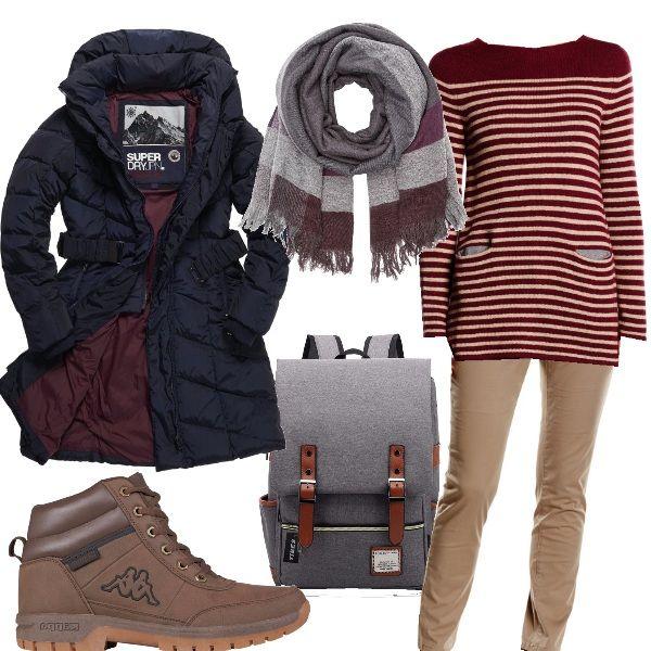 Andiamo a camminare per sentieri, con il maglioncino a righe, i chinos, gli scarponcini, tenute al caldo dal giubbotto e la sciarpa, completa lo zainetto minimale.