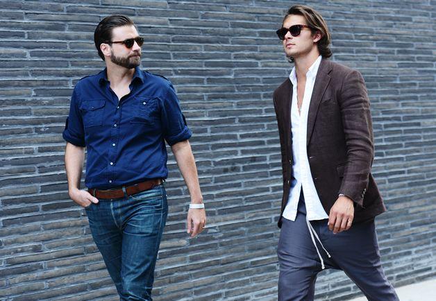 ニューヨーク青シャツメンズ着こなし
