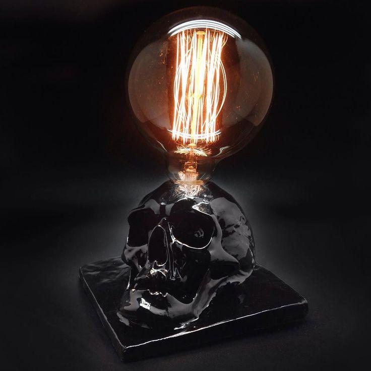 Unusual interior items for the home. Skulls, lamps, decor, interior design. skull, snuff, snuft, concrete, череп, art, interiordesign, interior, design, black, lights, light, lamp, edison, эдисон, лампа.