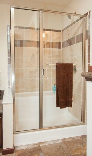 brushed nickel paragon series corner tub deck shower door by coastal shower doors