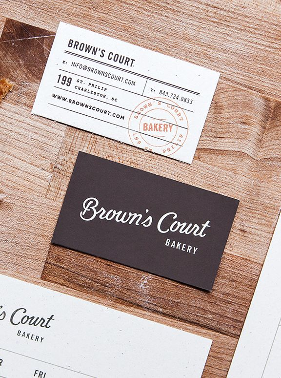 Brown's Court Bakery business cards