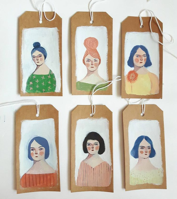 Portraits on gift tags