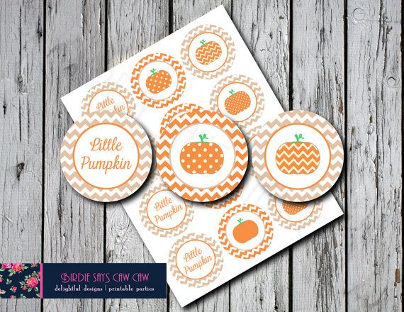 INSTANT DOWNLOAD Little Pumpkin Party Circles by BirdieSaysCawCaw, $4.00