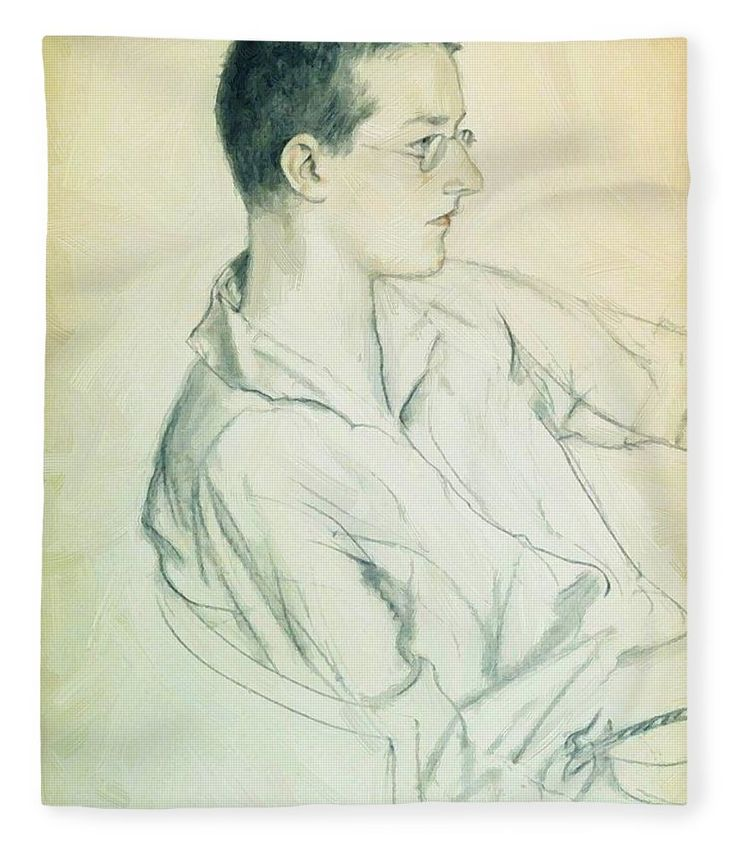 Portrait Fleece Blanket featuring the painting Portrait Of Composer Dmitri Shostakovich In Adolescence 1923 by Kustodiev Boris