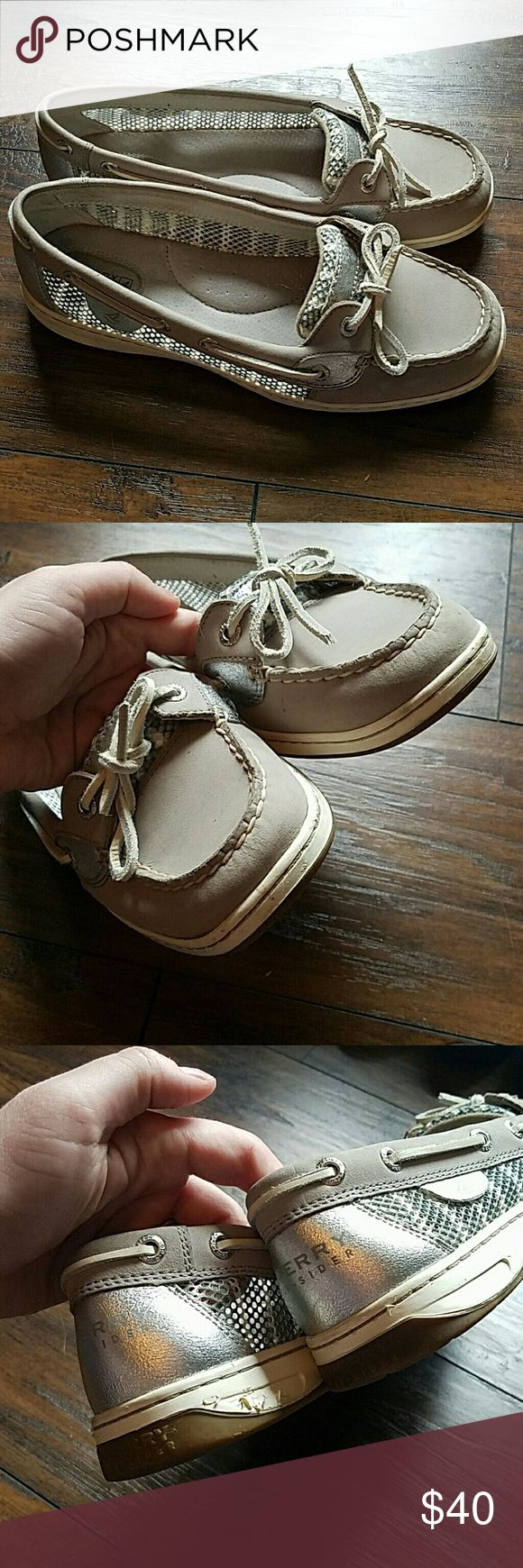 Sperry Angelfish Gray/Silver, size 9 Sperry Angelfish Gray/Silver, size 9. Has the gray and white striped netting along the sides. These do have some wear along the edges, as can be seen in the picture of the backs. Otherwise, they are in very good condition. I really have not worn them much, despite the wear - I'm not sure how I did that. They are very cute and comfortable. Please let me know if you have any questions. Thanks for looking! Sperry Shoes Flats & Loafers