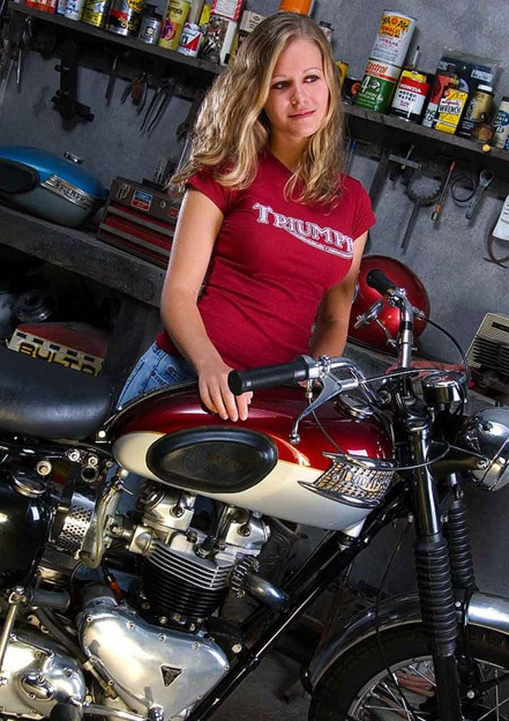 Blonde Girl With A Triumph Motorcycle View More Girls -1398