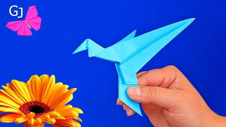Оригами колибри, которая машет крыльями. Движущаяся поделка.