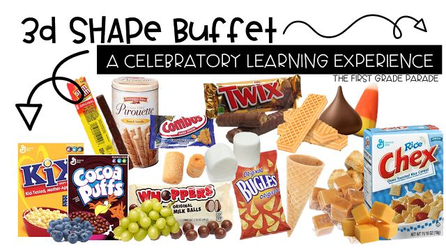 Fun food ideas to use for a 3D shape buffet.  Great culminating activity for a shape unit!