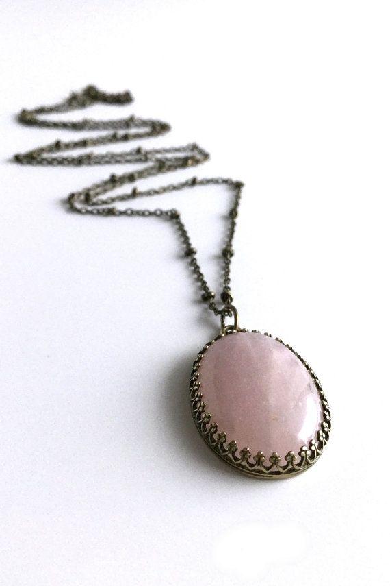 Pink Quartz Necklace, Big Oval Gemstone Jewelry, Natural Stone Rose Quartz Pendant, Long Antiqued Brass Chain Necklace
