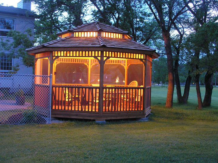 """Octagon Gazebo kits come in 12"""" and 14"""" sizes with optional two tier roof, cupola, screens and benches.  visit: cedarshed.com"""