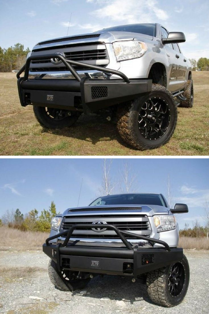 Fab fours black steel elite toyota tundra front bumper prerunner style