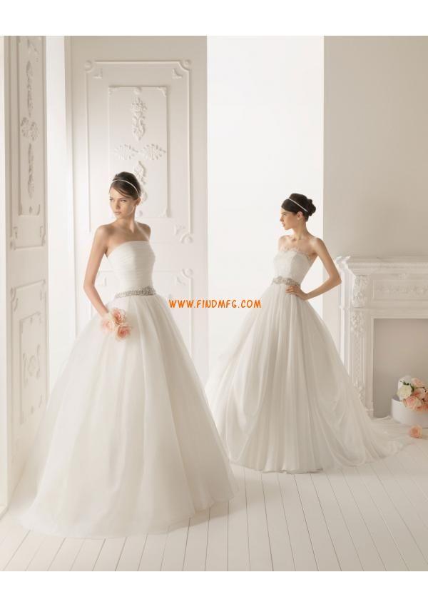 sem alças elegante frisada corpete plissado casamento Organza Vestido Designers 2013