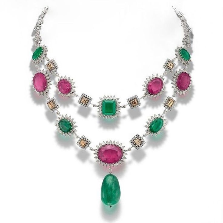 Crafted by the #HouseofRose, this colourful necklace makes use of rubies, brown diamonds, emeralds and fancy diamonds, set in 18k white gold.