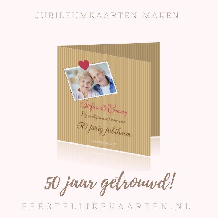 50 jaar getrouwd uitnodigingen in kraft. Originele kaarten maken met hartjes en met uw eigen foto voor uw jubileum. Een huwelijksjubileum vieren met een mooie kaart.