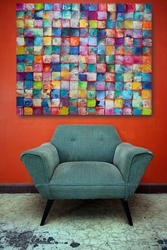 NEUE ART riesigen Maßstab Original Mosaik-Kunst von Caroline Ashwood – strukturierten und zeitgenössische abstrakte Malerei auf Leinwand – kostenloser Versand