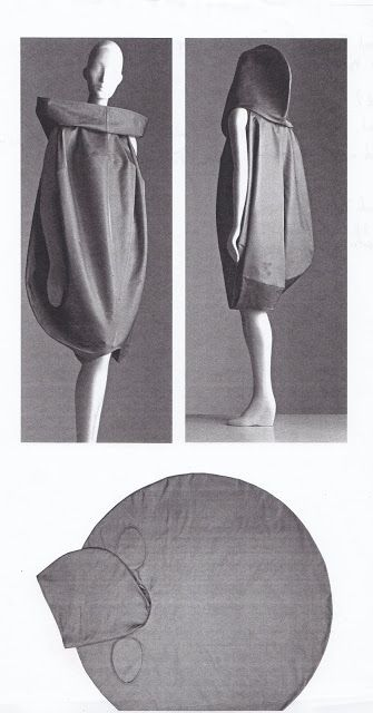 Top, left Isabel Toledo, Packing dress, spring 1998 (front view).  Top, right (back view, with hood pulled up).  Bottom (laid flat)  Photographed by William Palmer.