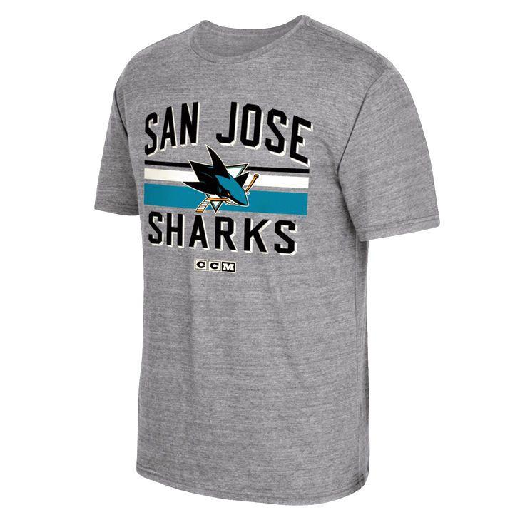San Jose Sharks CCM Classic Stripe Tri-Blend T-Shirt - Gray - $22.39 | My CCM designs ...