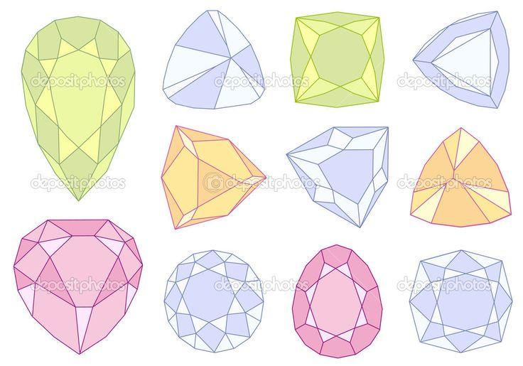 宝石石のセットは、ベクトル イラスト