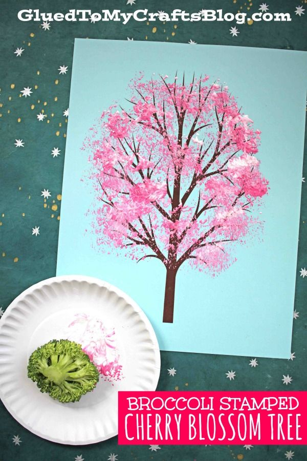 Broccoli Stamped Cherry Blossom Tree Kid Craft Glued To My Crafts Cherry Blossom Art Spring Tree Art Spring Arts And Crafts