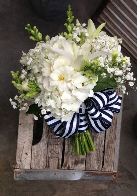 Bells of Ireland incorporated into boquet Nautical Wedding///www.annmeyersignatureevents.com