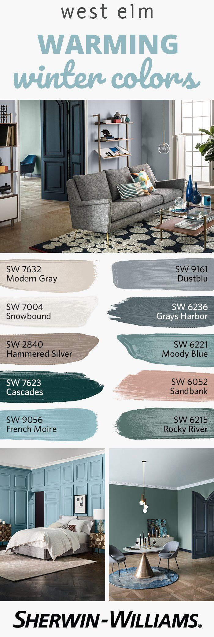 As it gets cold outside, bring some warmth inside with the colors of the @westelm Fall/Winter 2017 palette. Perfect for doors, trim, accent walls and more, this collection features 12 neutral-forward hues, each picked to complement furniture, bedding and home accessories. Whether you choose just one or create a palette, these colors are sure to warm up your style.