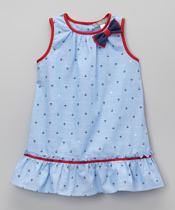Look at this Blue Anchor Ruffle Babydoll Dress - Toddler & Girls on #zulily today!
