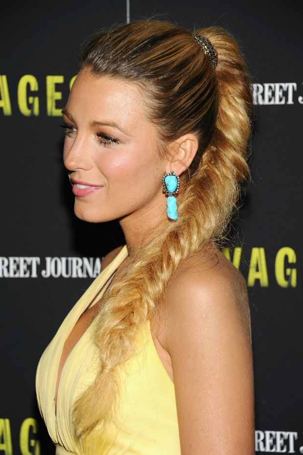 The High Fishtail Braid  -  See more Blake Lively ponytails!