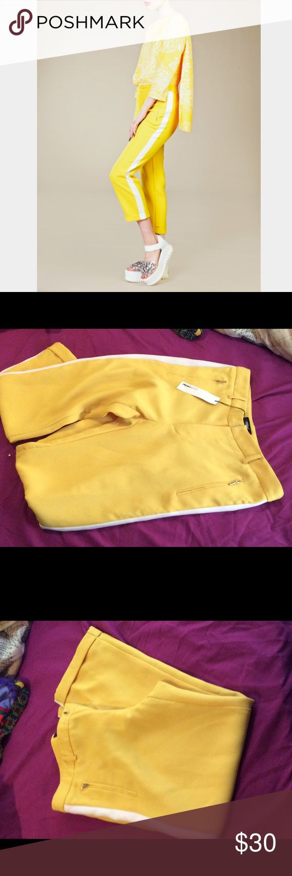 Women's Lazy Twin Yellow Trouser w/White Stripe Brand new yellow trouser with white stripe from Lazy Twins. Never worn! Absolutely adorable pant! Lazy Twins Pants Straight Leg