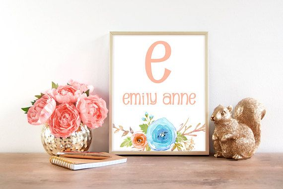 Floral Nursery Monogram  Personalized Nursery Decor  Nursery