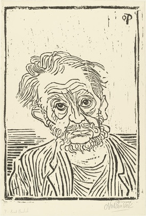 Otto Pankok, portrait of Barlock, woodcut
