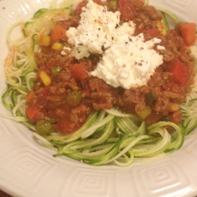 250cals.  30gProtein 20gCarbs. Spaghetti Bolognese.  100g Beef mince and vege sauce (five brothers) On top of raw zucchini spaghetti.  Topped with 50g cottage cheese.