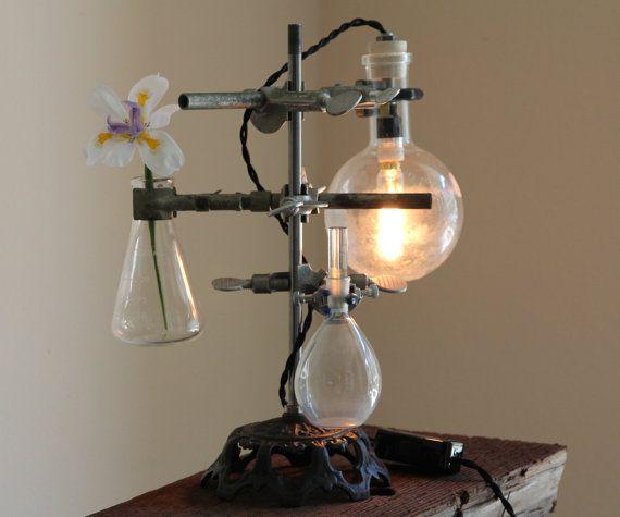 Industrial science lamp steampunk desk flower vase lighting antique lab…