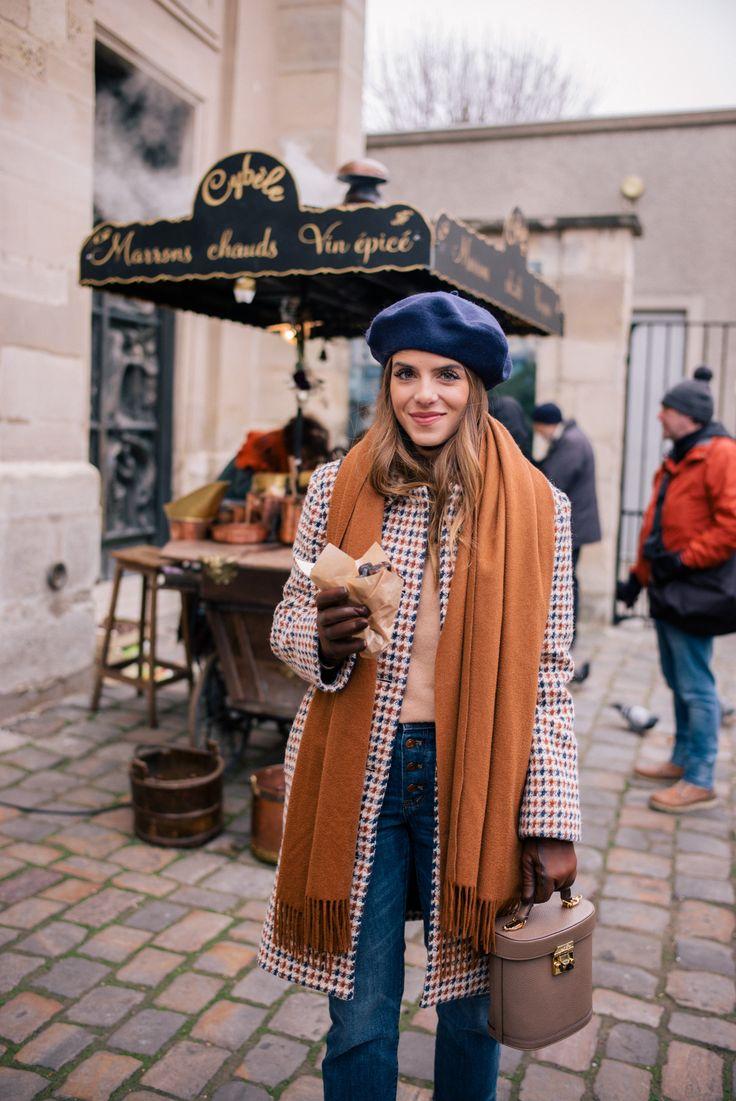 Gal Meets Glam A Parisian Look APC coat, Vince turtleneck, J.Crew jeans, Max Mara scarf, Mark Cross bag & Beret