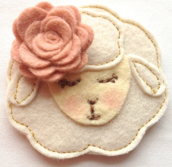 WOOL felt EASTER LAMB hair clip baby's by whiteblossomboutique, $10.00