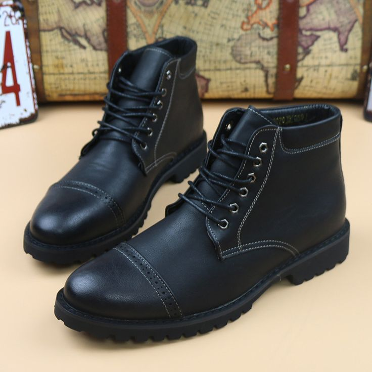 new 2017 men genuine leather retro ankle boots mens brogues oxfords riding boots work boots for men size 38-43