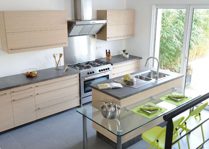 52 best Cuisines équipée images on Pinterest Solid oak, Wood - hotte integree dans meuble haut