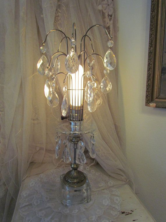 19 tall crystal waterfall boudoir lamp vintage table for Waterfall lamp shade